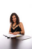 Young Business woman at work. Isolated over white background Royalty Free Stock Photos