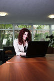 Young business woman at work with laptop computer. Attractive woman at the office working on a laptop computer Stock Photo