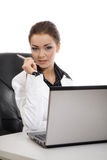 Young business woman working. Young beautiful business woman working stock photography