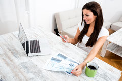 Young business woman working from home Royalty Free Stock Image