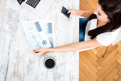 Young business woman working from home Royalty Free Stock Photos