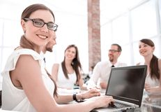 Young business woman working on laptop stock images