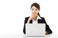 Young business woman working with  laptop Royalty Free Stock Photo