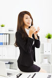 Young business woman working in office Stock Images