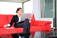 Young Business Woman Working On Laptop At Home Royalty Free Stock Photo