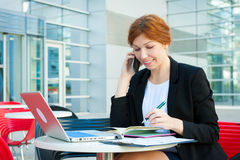 Young business woman working Stock Photo