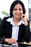 Young business woman working with tablet computer Stock Photos