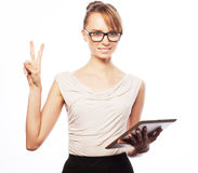 Young business woman working on tablet Stock Photo