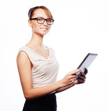 Young business woman working on tablet Stock Images