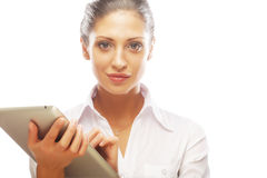 Young business woman working on tablet Royalty Free Stock Images