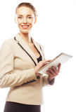 Young business woman working on tablet Stock Photography