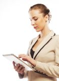 Young business woman working on tablet Royalty Free Stock Image
