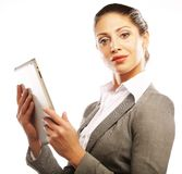 Young business woman working on tablet Royalty Free Stock Photography