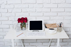 Young business woman workspace Stock Images