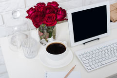 Young business woman workspace Royalty Free Stock Images