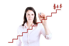 Young business woman write stair. Royalty Free Stock Photos