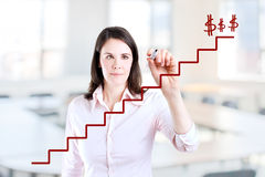 Young business woman write stair. Stock Photos