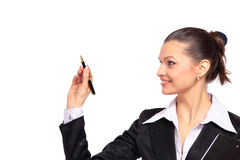 Young business woman writing Stock Images