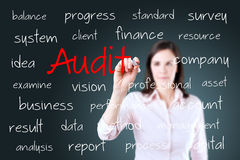 Young business woman writing audit concept Stock Photos