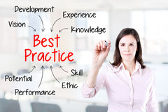 Young business woman writing best practice concept. Office background. Stock Photography