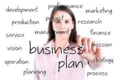 Young business woman writing business plan concept. Stock Photo