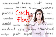Young business woman writing cash flow concept. Isolated on white. stock photos