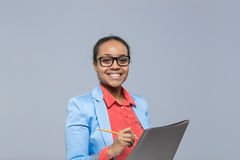 Young Business Woman Writing Clipboard Sign Up Contract African American Girl Happy Smile Businesswoman Stock Image
