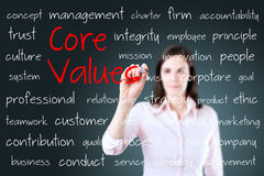 Young business woman writing concept of core values Stock Photos