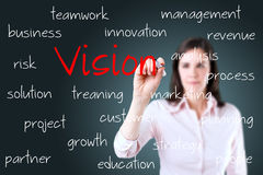 Young business woman writing concept of vision. Royalty Free Stock Image