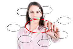 Young business  woman writing diagram of centralization. Stock Photos