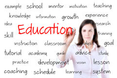 Young business woman writing education concept. Isolated on white. Stock Images