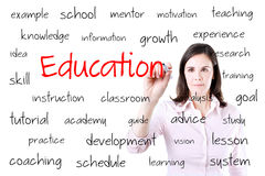 Young business woman writing education concept. Isolated on white. Royalty Free Stock Image