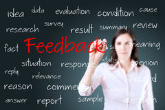 Young business woman writing feedback concept