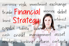 Young business woman writing financial strategy concept. Office background. Royalty Free Stock Photography