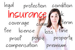Young business woman writing insurance concept Stock Images