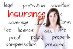Young business woman writing insurance concept. Stock Image