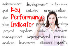 Young business woman writing key performance indicator (kpi) concept. Isolated on white. Young business woman writing key performance indicator (kpi) concept Royalty Free Stock Image