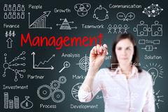 Young business woman writing management scheme. Blue background. Stock Photography