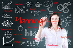 Young business woman writing planning concept.  Stock Images