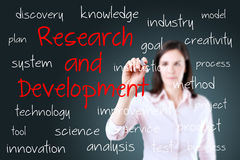 Young business woman writing research and development concept Stock Photo