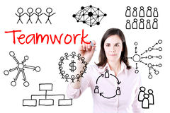 Young business woman writing teamwork figure. Isolated on white. Stock Photography