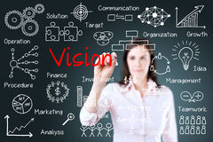 Young business woman writing vision concept. Young business woman writing vision concept royalty free stock images