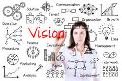 Young business woman writing vision concept. Isolated on white Stock Photo