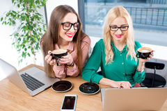 Young business women at the cafe Royalty Free Stock Photo