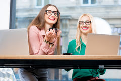 Young business women at the cafe Royalty Free Stock Image