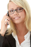 Young business women calling by cellular phone. Attractive young business women calling by cellular phone isolated on white background Stock Photos