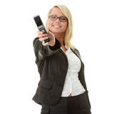 Young business women with cellular phone Stock Photos