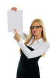 Young business women pointing at blank paper Royalty Free Stock Images