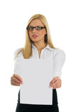 Young business women showing blank paper Royalty Free Stock Image