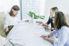 Business women working with business drawings in modern office. Young business women working with business drawings at the table in modern office royalty free stock images
